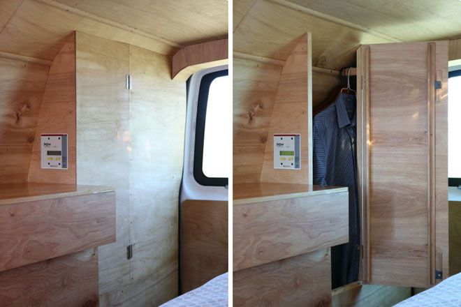 Two views of the side storage which opens to reveal a closet