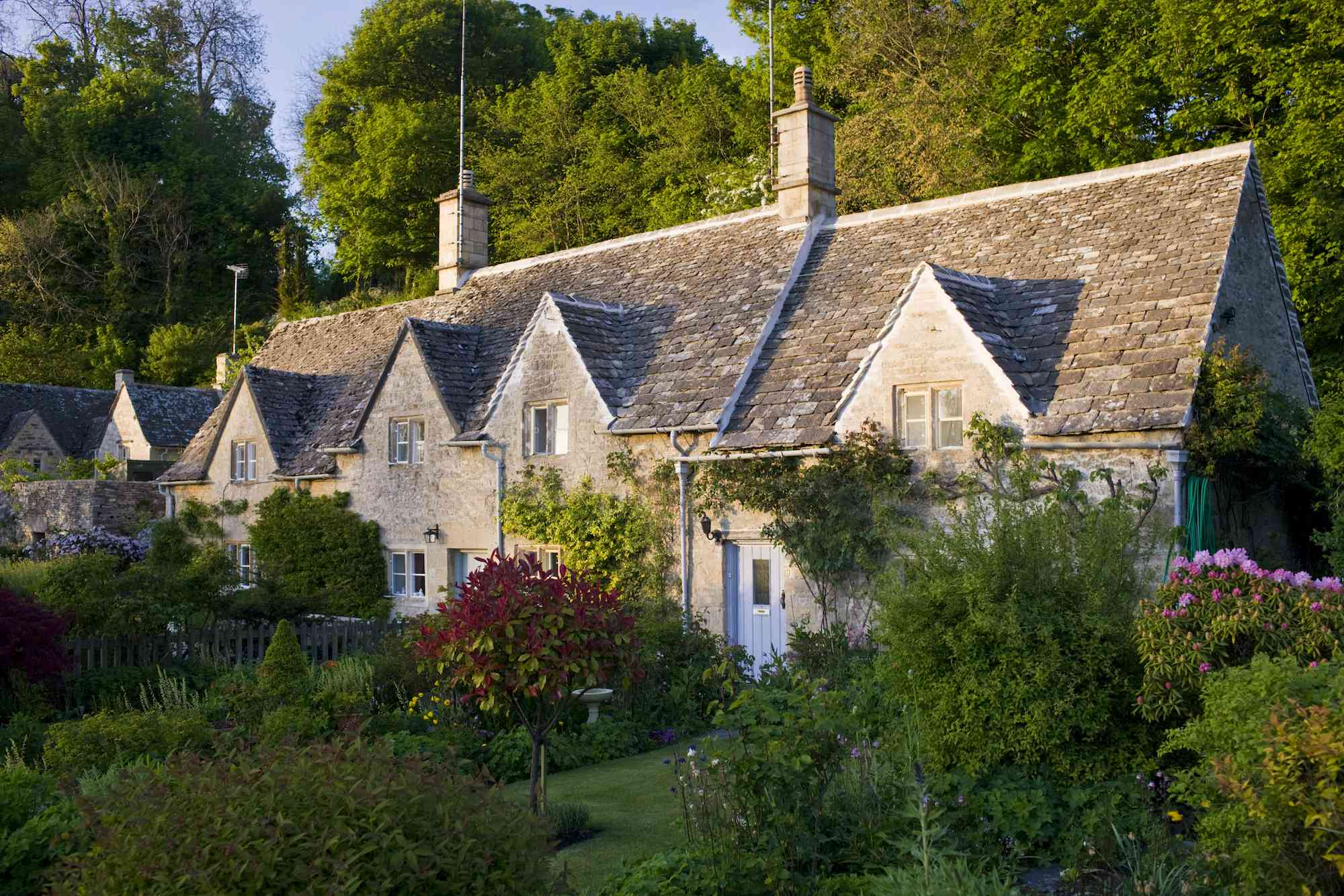 British cottages with front yard gardens