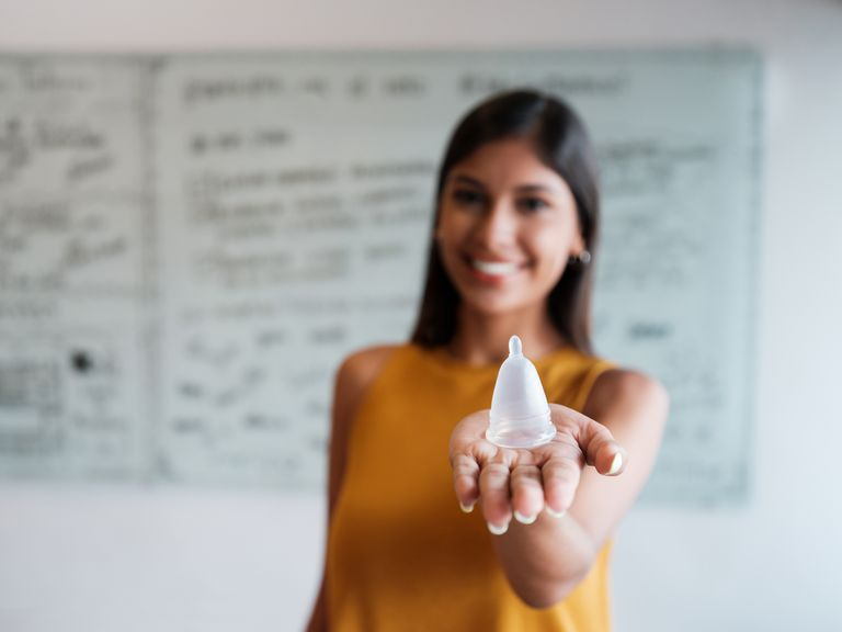 woman with menstrual cup