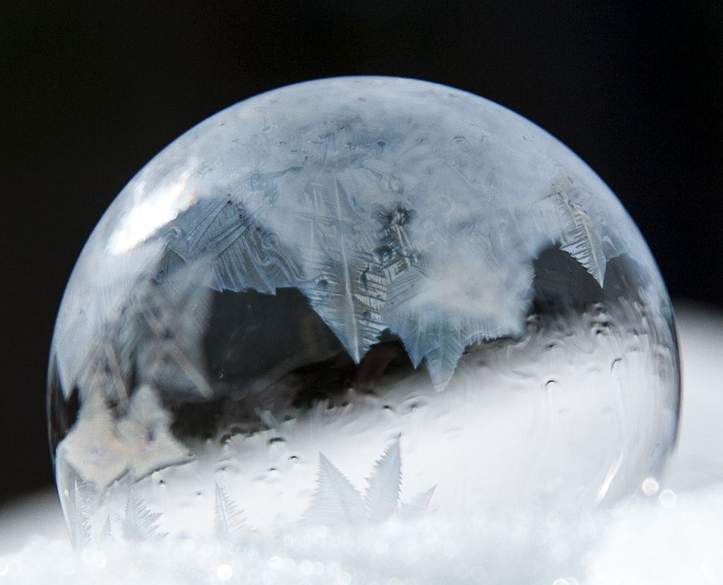 Crystal formation on frozen soap bubble.