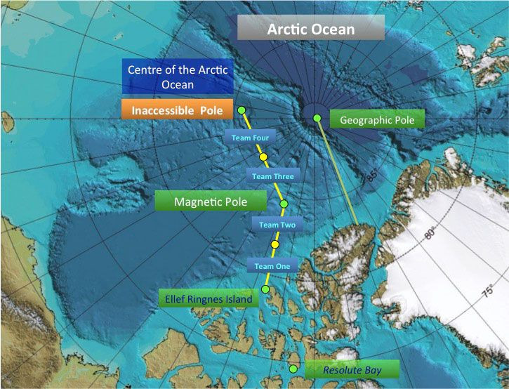 The stages of the journey to be undertaken by The Last Pole expedition.