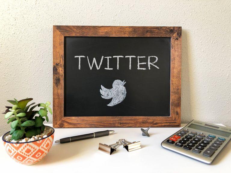 Twitter bird on chalkboard