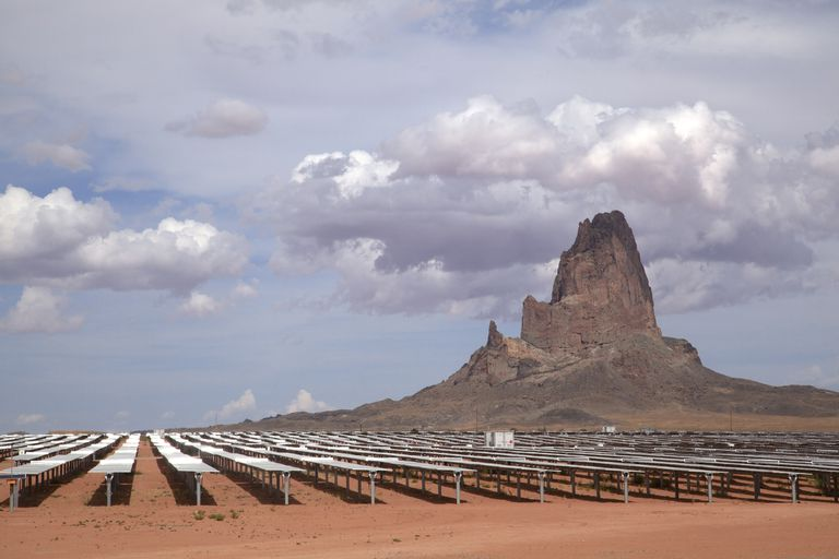 Rows of solar panels gleam in the sun, part of the Kayenta II Solar project on the Navajo Nation.