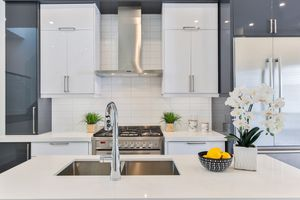 Clean, modern kitchen with fresh orchid, plants and bowl of lemon on countertops