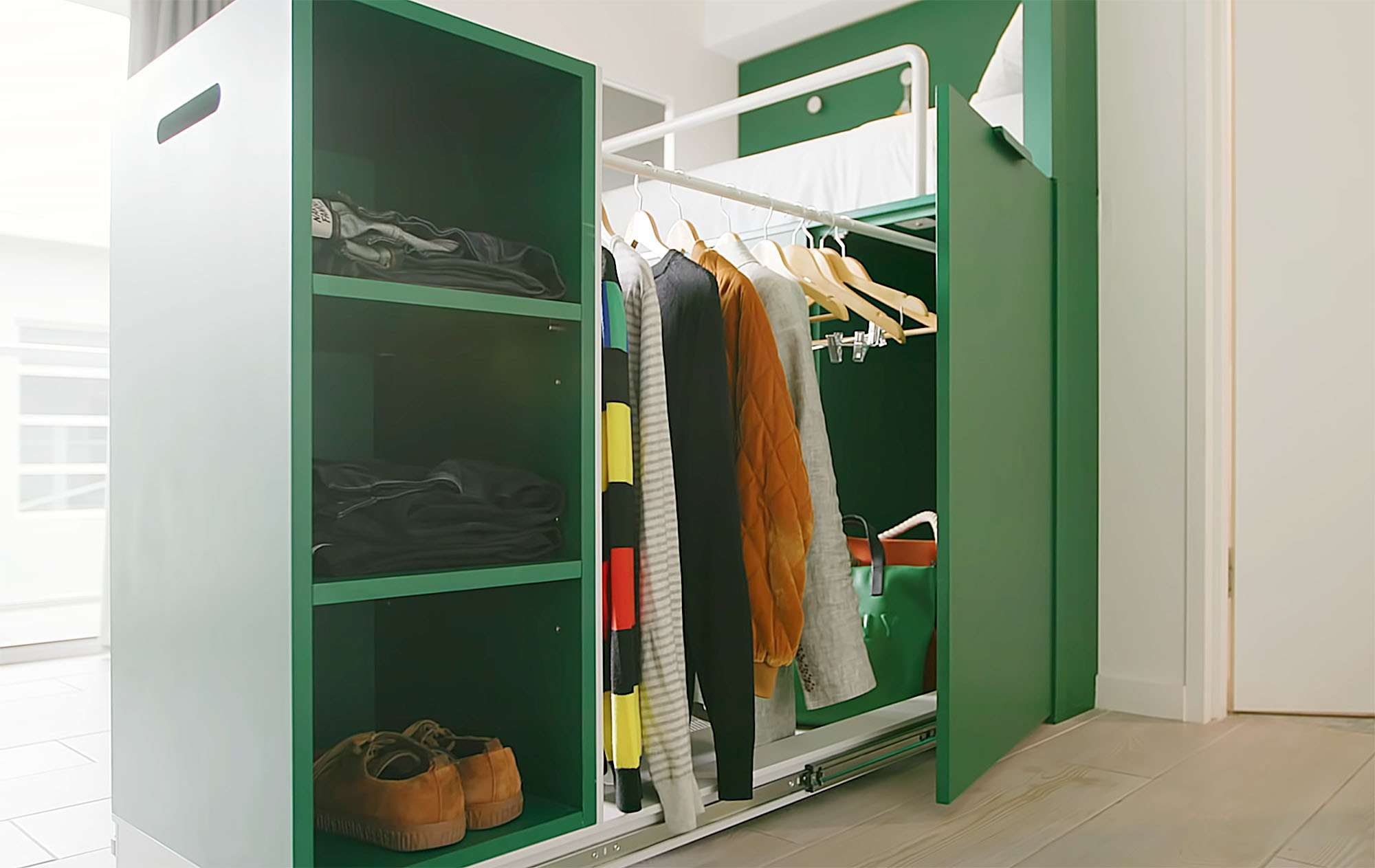 UKO stanmore coliving micro-apartment Mostaghim Associates wardrobe