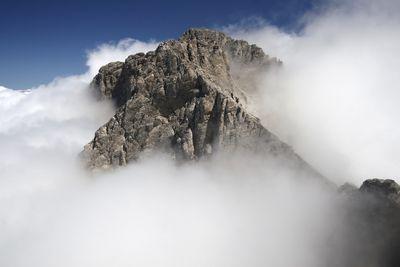 The cloud-covered peak of Mount Olympus.