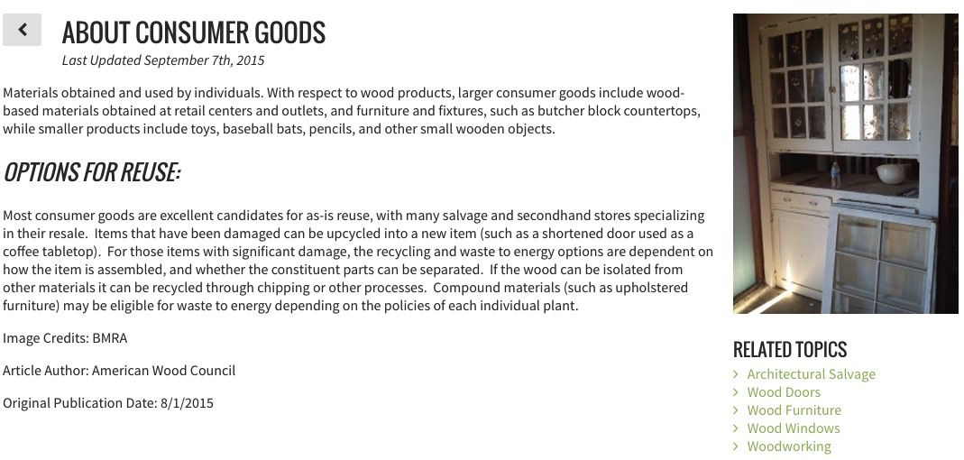Screenshot describing options for reusing wood materials