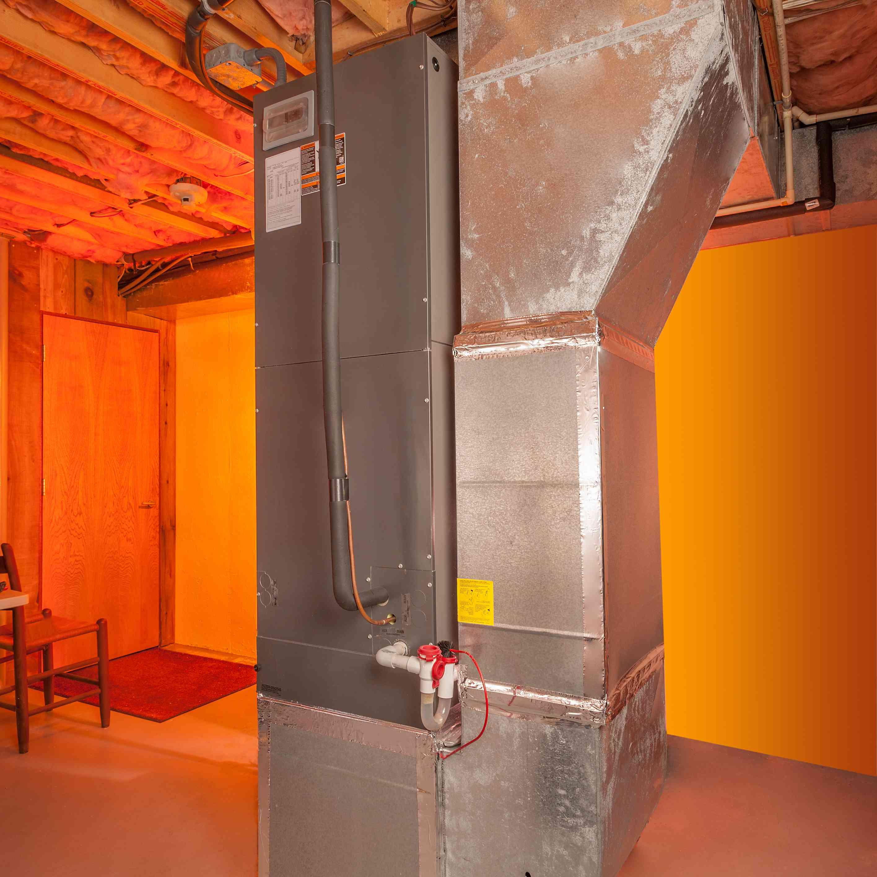 A basement furnace