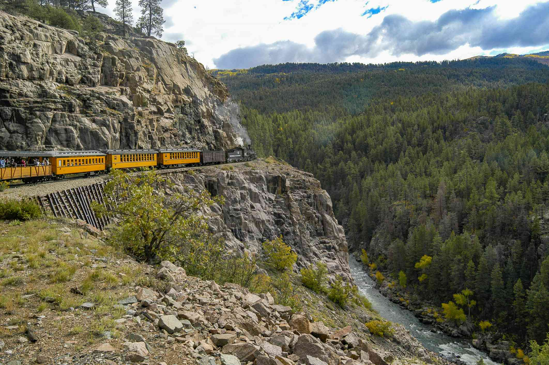 Durango and Silverton train traveling through the maountains