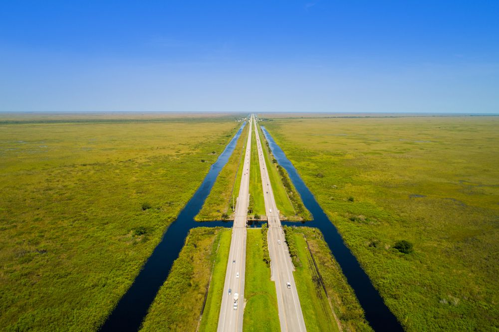 An aerial view of the Alligator Alley section of Interstate Highway 75