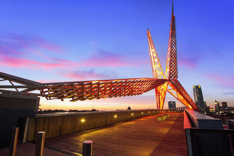 The sculptural, birdlike structure is illuminated atop the Skydance Bridge in Oklahoma City