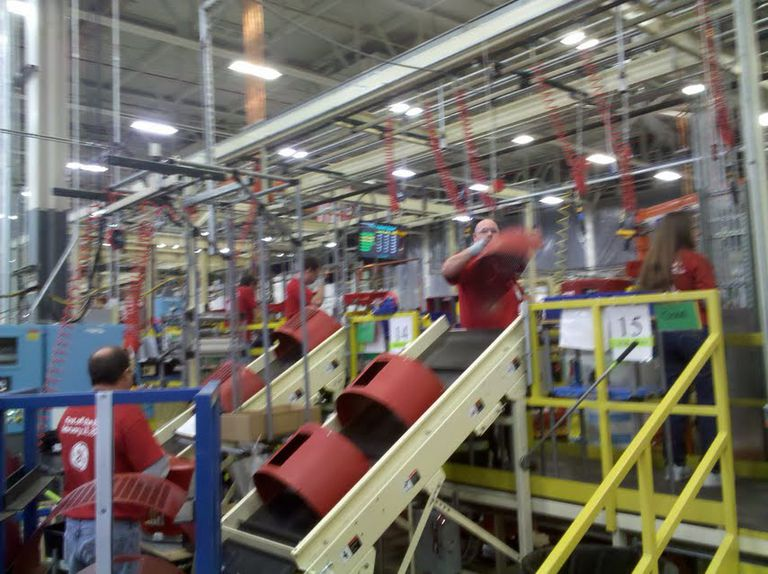 Assembly line in a factory