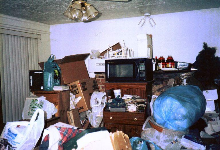 living room of hoarder