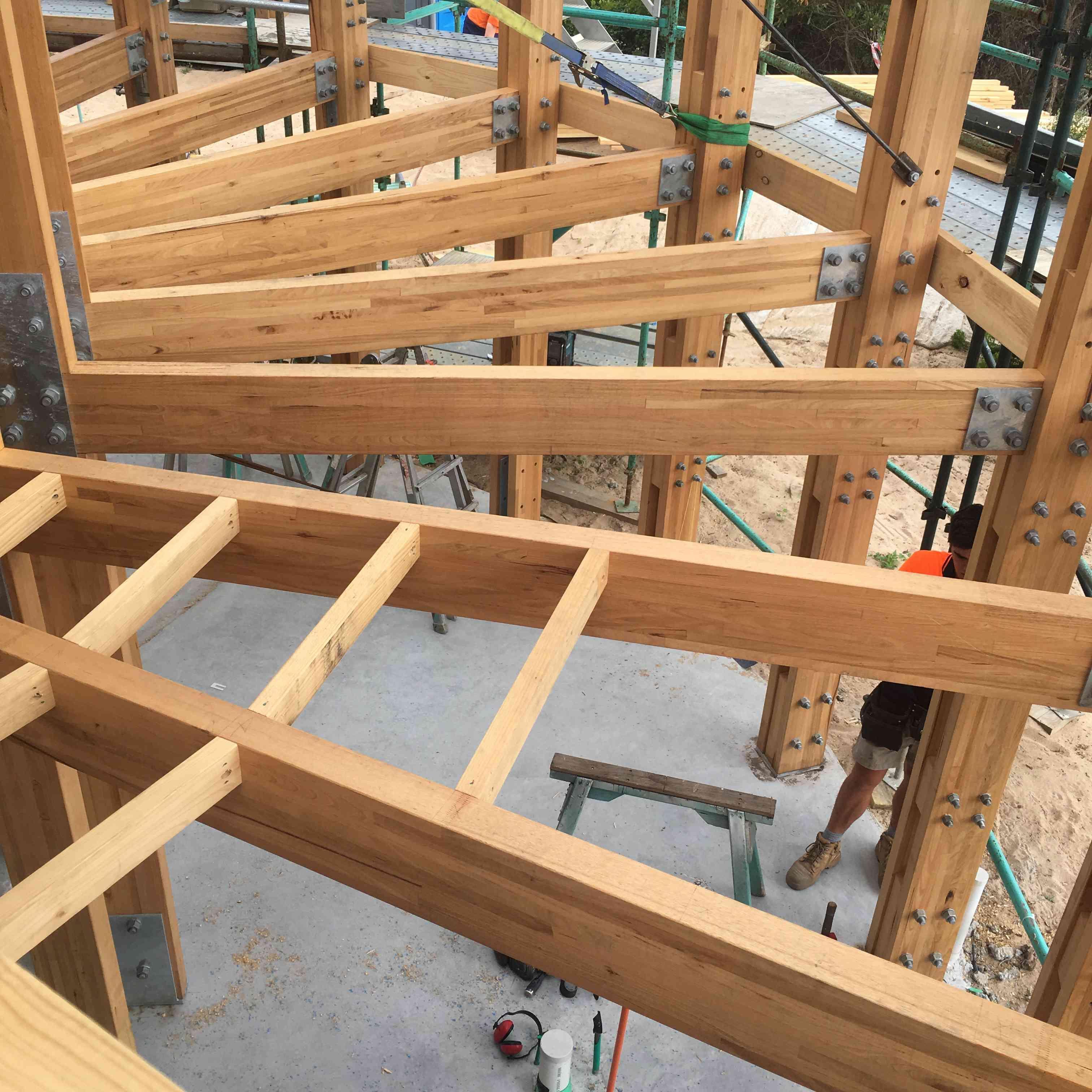 wood framing under construction