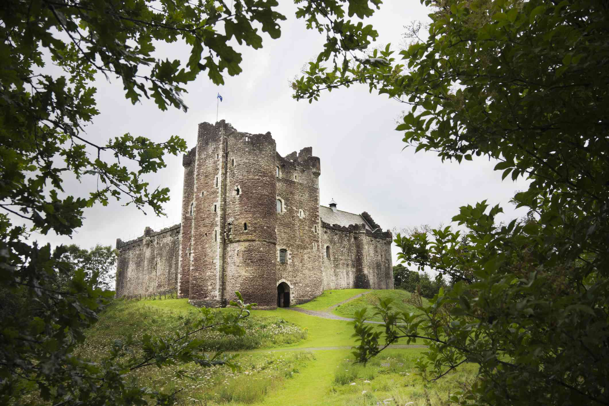 View of Doune Castle on a grass hill framed by green trees under a gray, overcast sky