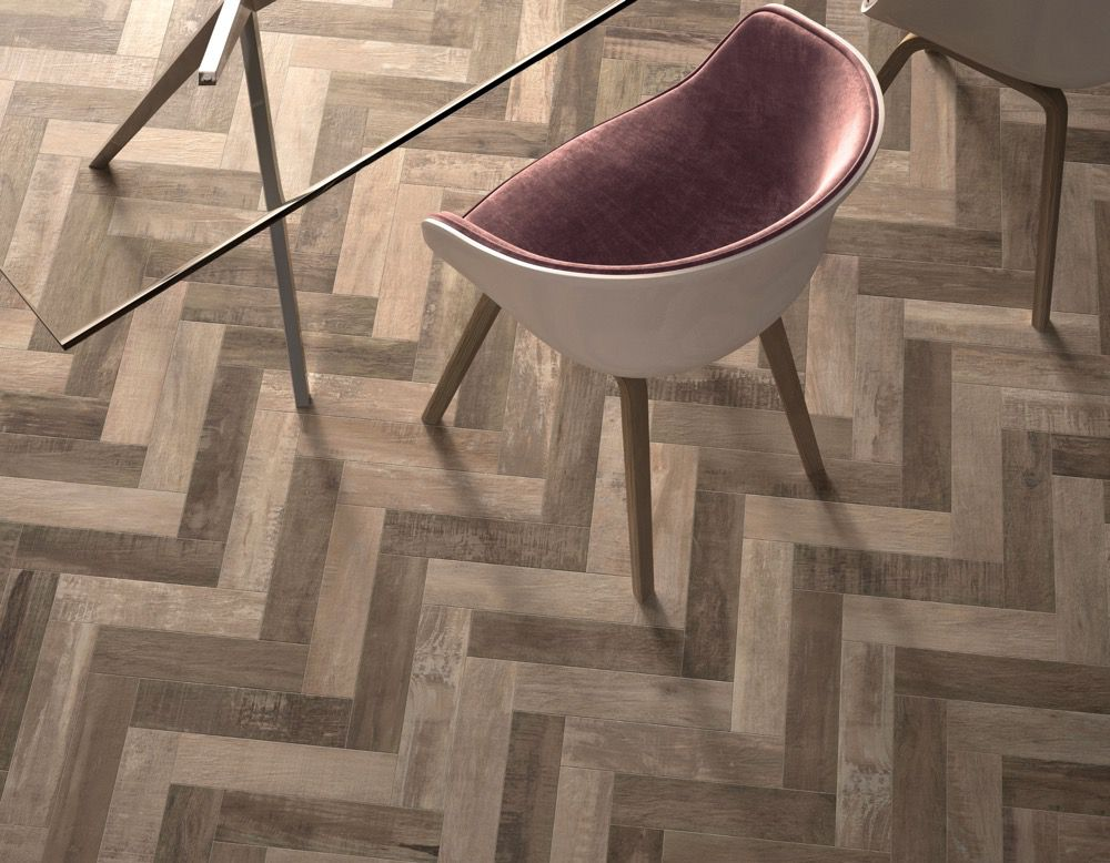 Half-circle chair on a wood floor