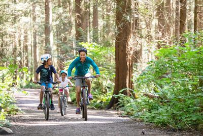 Family biking in the forest