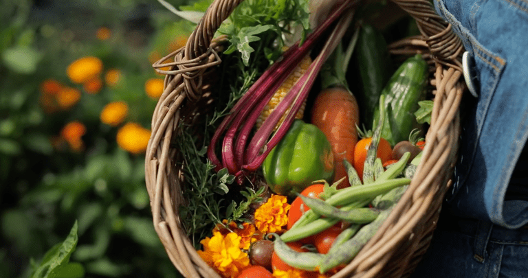 basket holding assortment of fresh vegetables and flowers