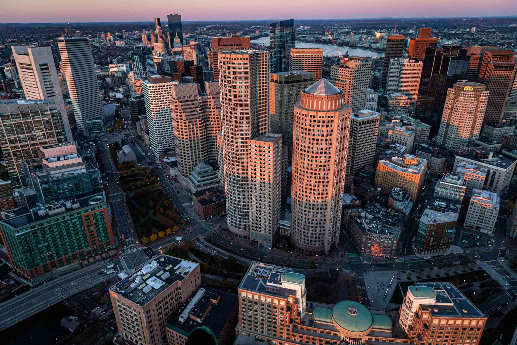 Aerial view of Boston skyscrapers at sunrise