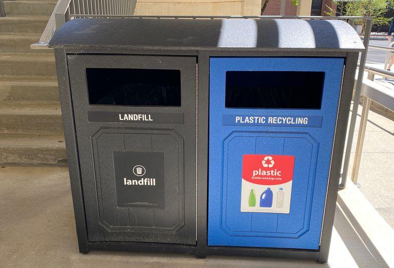 trash and recycling bins at Georgia Tech