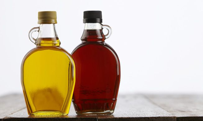 Bottles of agave and maple syrups