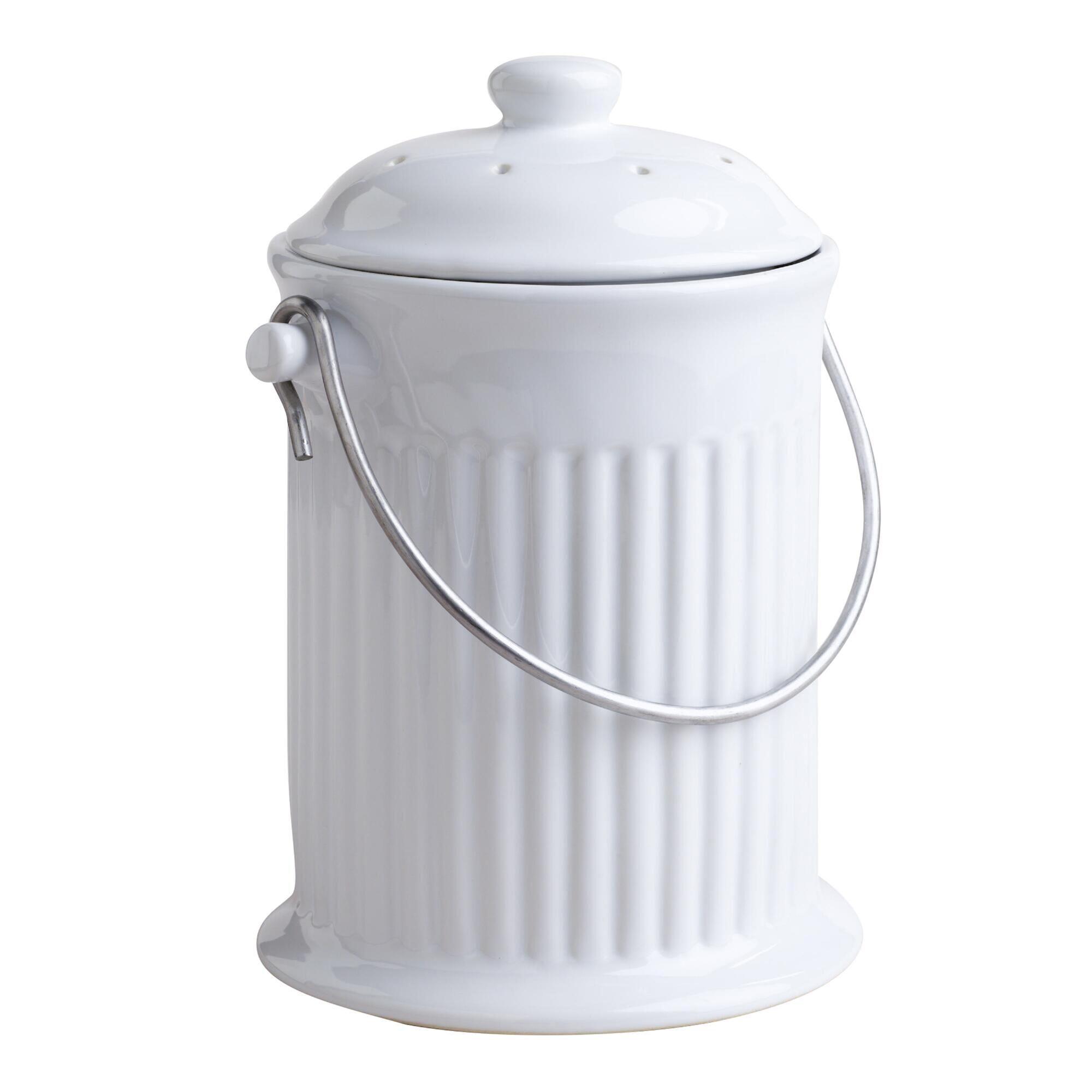 White Ceramic Compost Bucket