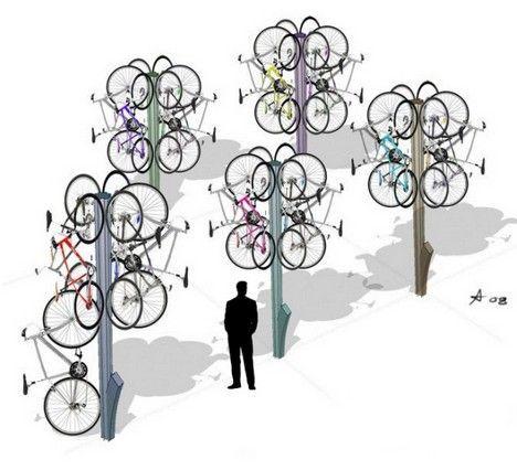 bike tree stores bikes off ground