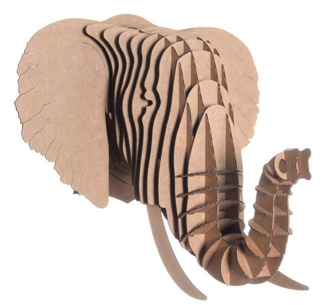 Cardboard elephant head