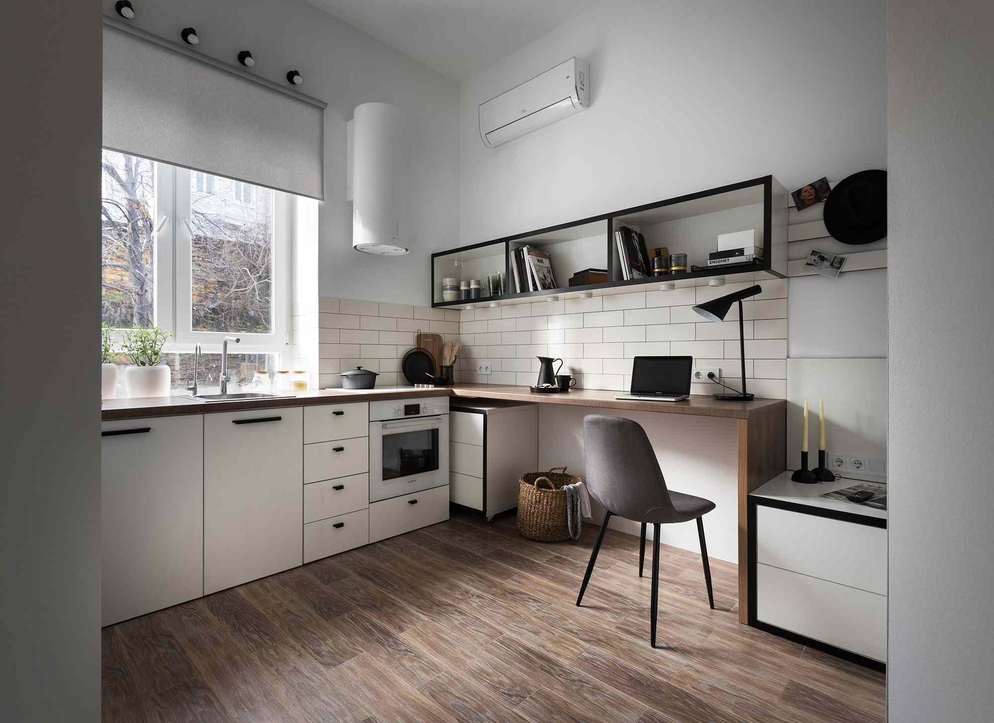 Odessa micro-apartment renovation Fateeva Design interior view from entry