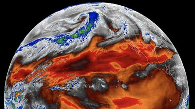 Zoomed out satellite image of an atmospheric river in the northern Pacific Ocean.