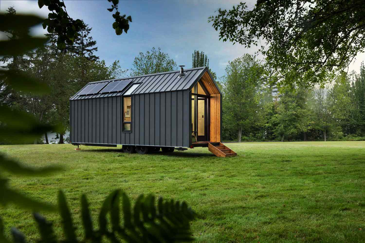 Modern shed on grass