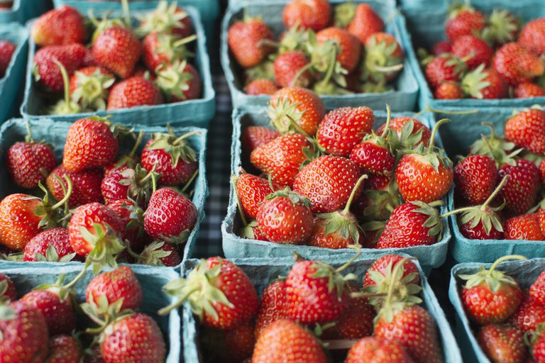 Crates of strawberries