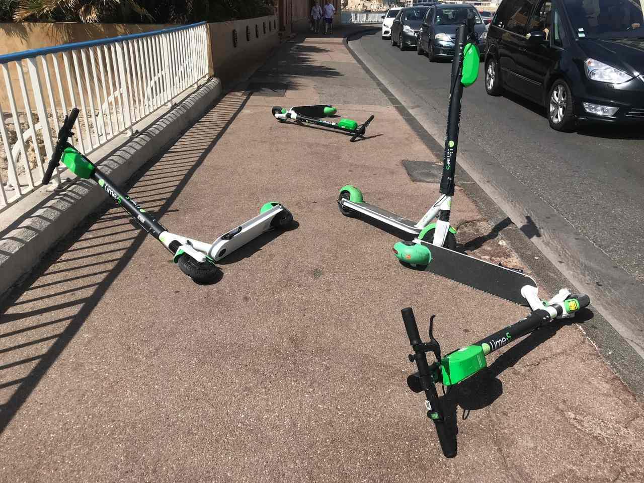 scooters on sidewalks