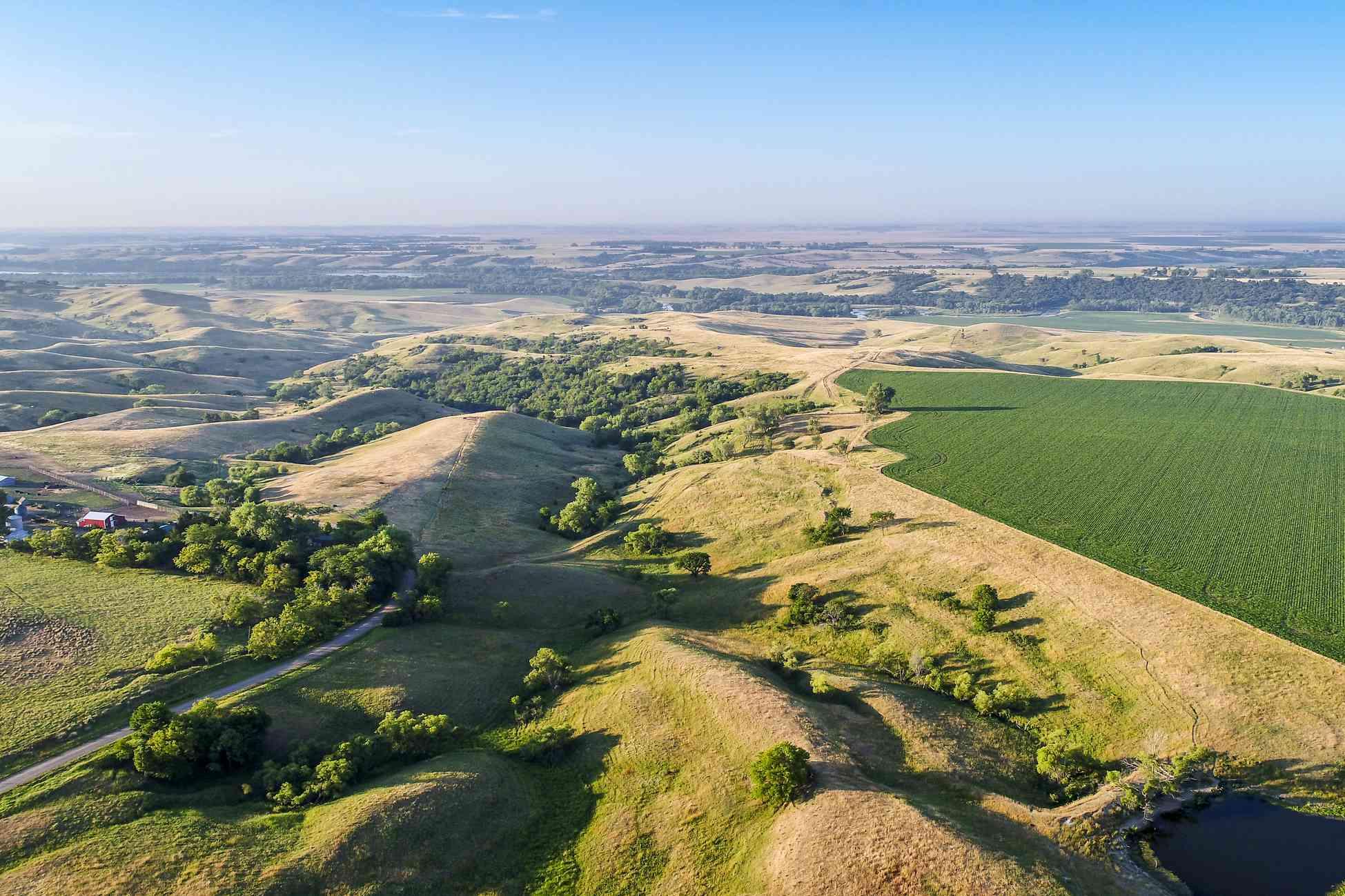 Aerial view of the Nebraska Sandhills and road