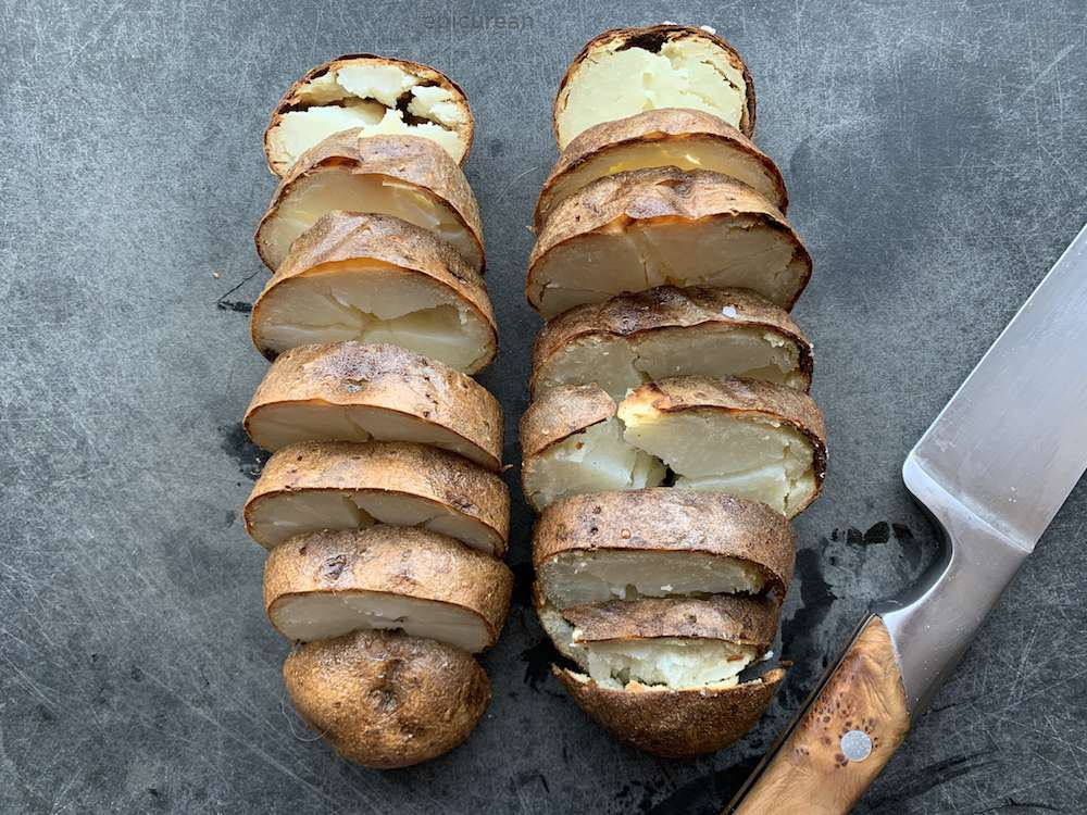 sliced old baked potatoes