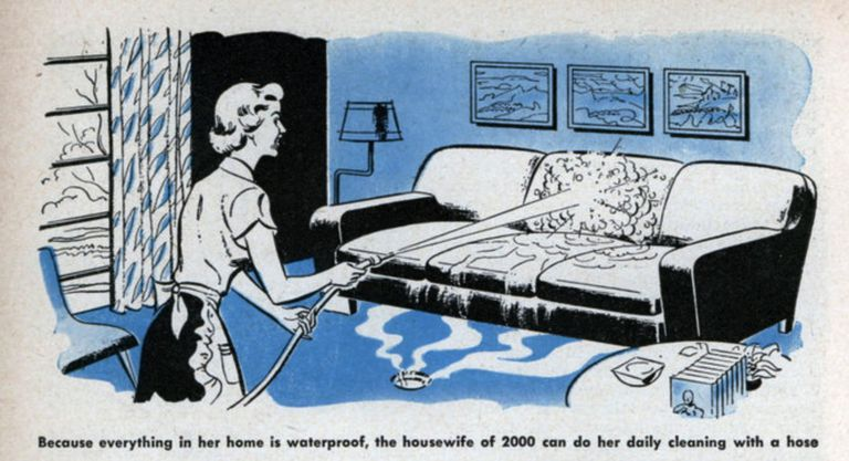 illustration of woman cleaning couch with a hose.