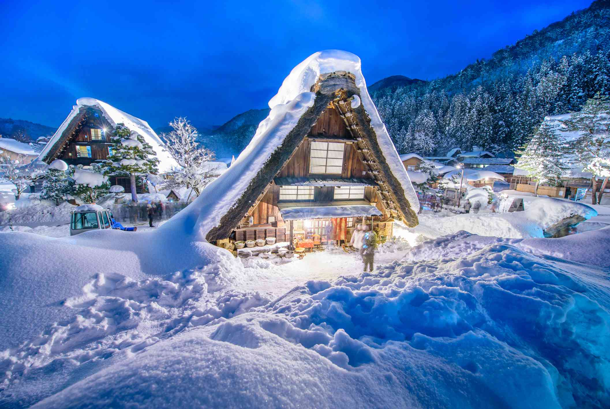Shirakawa-go covered in snow and lit up in winter