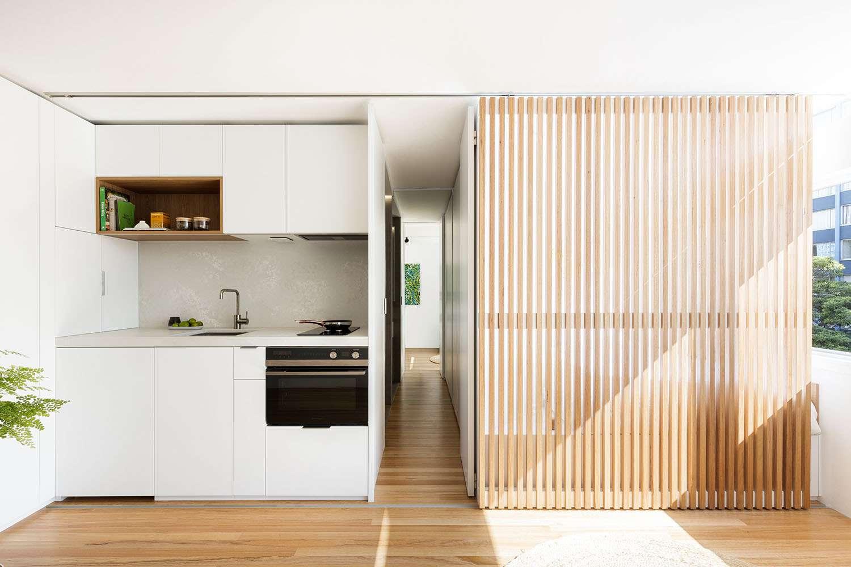 boneca micro-apartment brad swartz architect hidden bathroom door