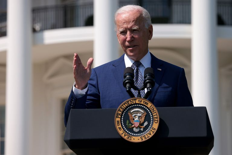 U.S. President Joe Biden delivers remarks during an event on the South Lawn of the White House August 5, 2021 in Washington, DC. Biden delivered remarks on the administration's efforts to strengthen American leadership on clean cars and trucks.
