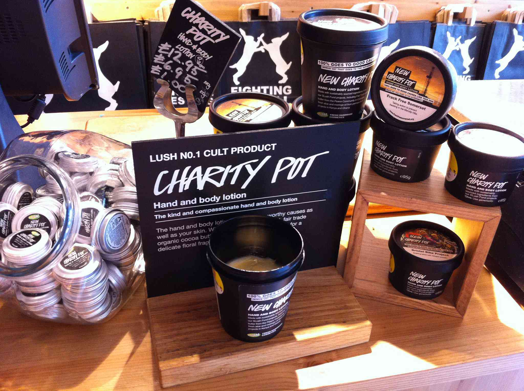 Store display for Lush's charity pot lotion