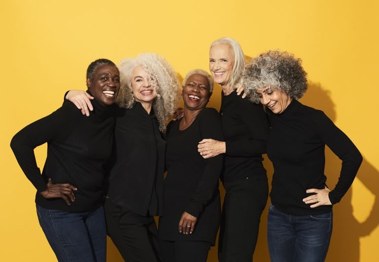 Group of beautiful older women smiling