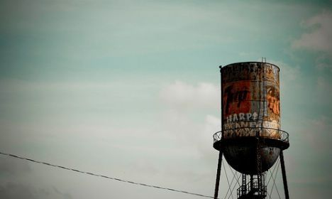 Rusted old water tower rust