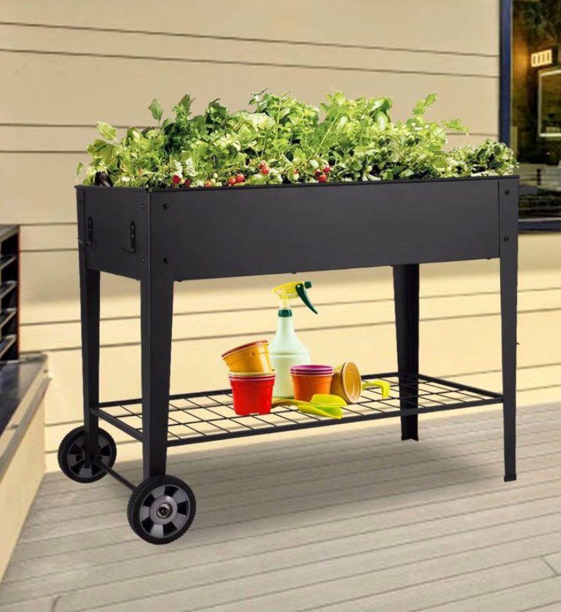Kinbor Elevated Metal Raised Planter Box with 2 Wheels