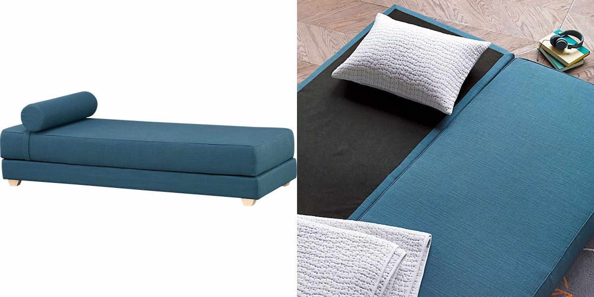 Blue daybed folded up and folded out