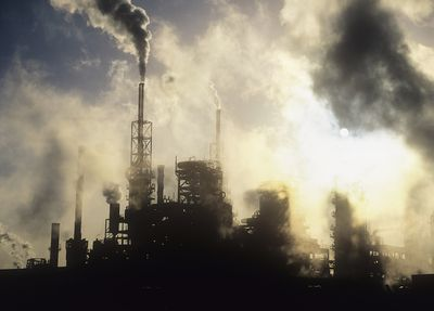 Pollution from petrochemical plant on Teeside, United Kingdom.