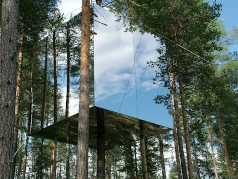 mirrored treehouse sweden photo exterior large