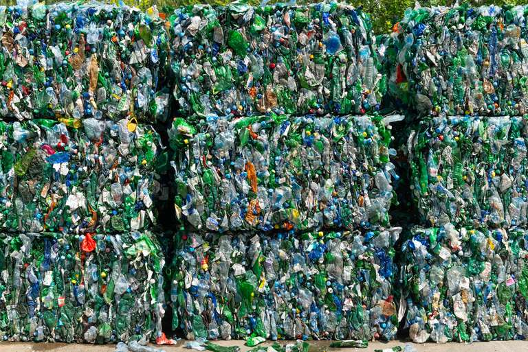 Blocks of plastic recycled materials