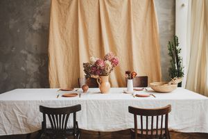 vintage table with rustic dishes