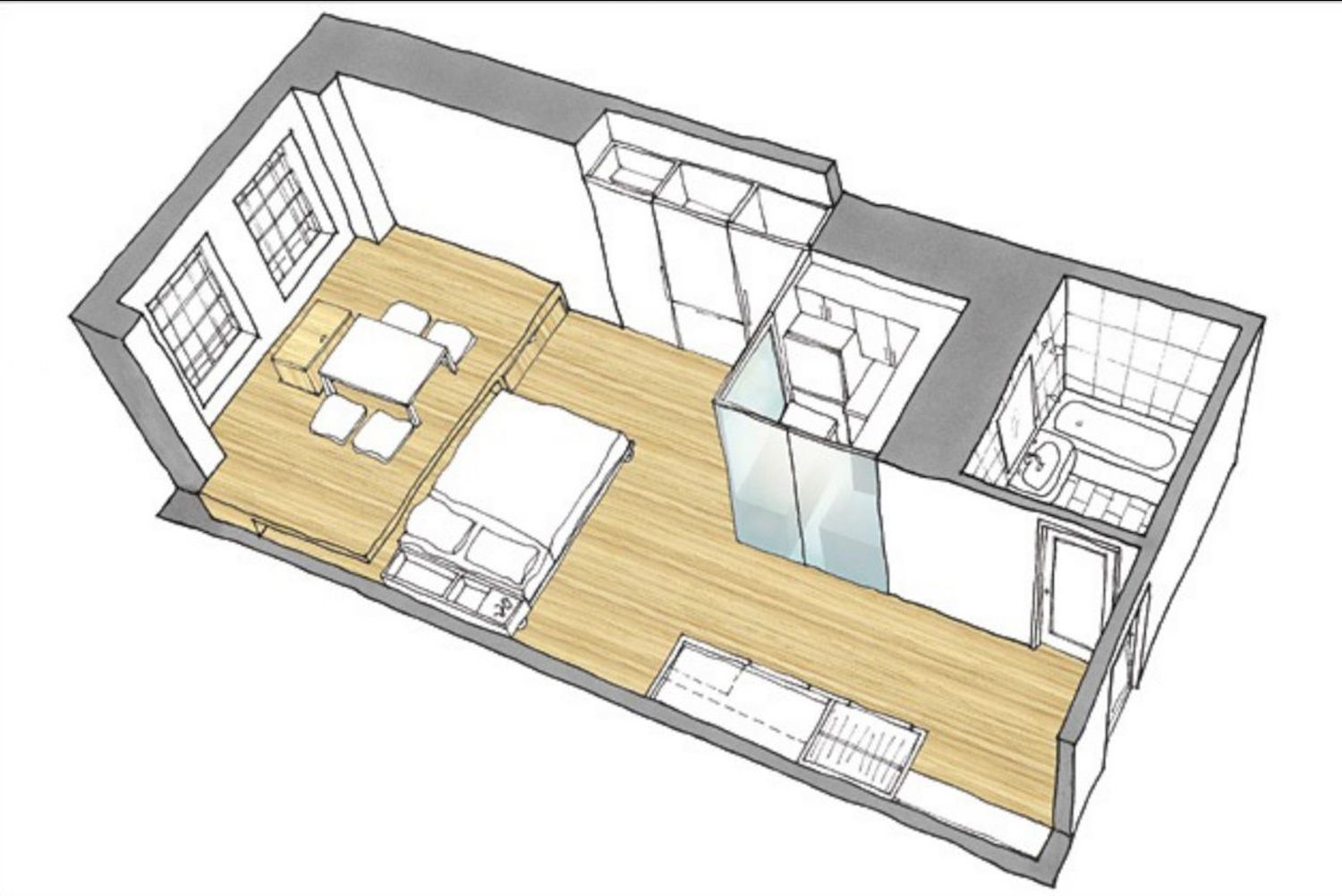 Floor plan with a fold-down bed