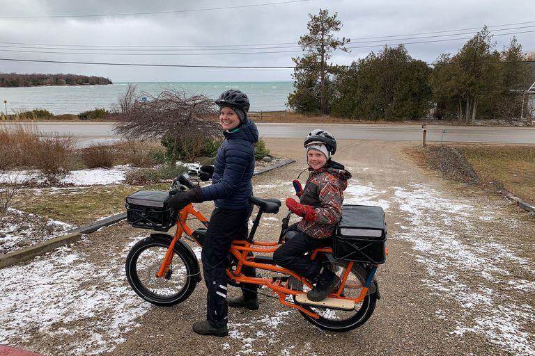 riding cargo bike